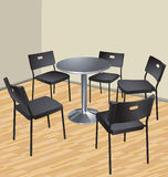 Five chairs and table Royalty Free Stock Images