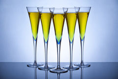 Five champagne glasses Stock Photo