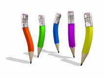 Five Character Pencils. Five different colored, and curvy shaped pencils - Design component Stock Photo