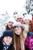 Five cheerful teenage girls Stock Photo