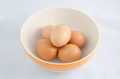 Five chicken egg. There are five eggs in the bowl Royalty Free Stock Image