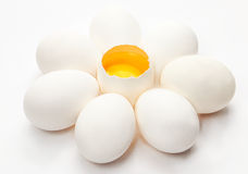 Five chicken eggs. On a white background Stock Photography