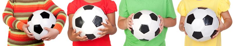 Five children with a ball stock photo