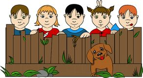 Children behind the fence with dog and grass stock illustration