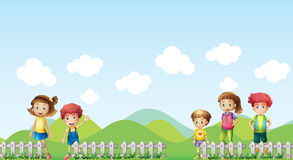 Five children in the farm Stock Images