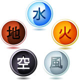 Five Chinese Elements With Wood Water Fire Metal Earth. The five Chinese elements, with wood, water, fire, metal and earth drops. Vector illustration cartoon Stock Photos