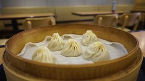 Five Chinese Steamed Xiaolongbao Dumplings stock video footage