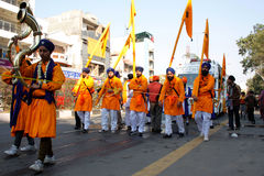 Five chosen ones in a sikh religious procession Royalty Free Stock Photo