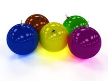Five Christmas ball with different colors Royalty Free Stock Photos