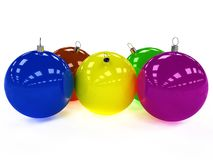 Five Christmas ball with different colors Stock Images