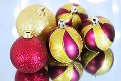 Five Christmas balls Royalty Free Stock Image
