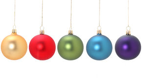 Five christmas balls Stock Photos