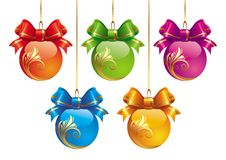 Five Christmas Balls Royalty Free Stock Photo