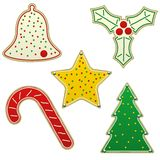 Five Christmas cookies Stock Images