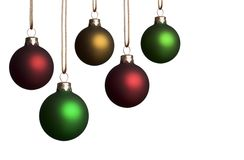 Five Christmas Ornaments Royalty Free Stock Photos