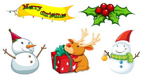 Five christmas symbols Royalty Free Stock Photography
