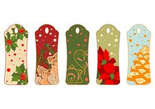 Five christmas tags - ilustration. Five illustrated tags with christmas motives Stock Photography