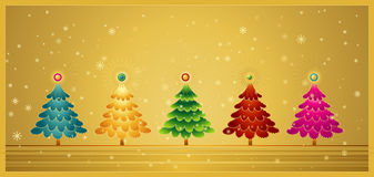 Five Christmas Tree,vector Royalty Free Stock Photos