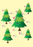 Five Christmas Trees. Five stylized Christmas fir trees with multicolored stars Royalty Free Stock Photo