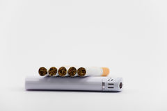 Five cigarettes on lighter. And white Stock Photos