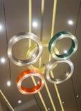 Five circle ceiling lamp. Five circle ceiling lighting lamp Stock Photos