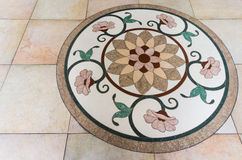 Five Circle Flowers on a Marble Floor with Round Frame Stock Photos