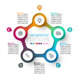 Five circles with business icon infographics royalty free stock images