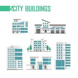 Five city buildings set of icons - vector illustration. Isolated on white background. Fire department, police station, trees, four skyscrapers. Grey roofs and Stock Photography
