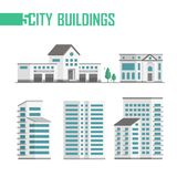 Five city buildings set of icons - vector illustration. On white background. Fire department, bank, two trees, three skyscrapers. Grey roofs and blue windows Stock Images
