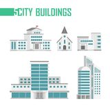 Five city buildings set of icons - vector illustration. Isolated on white background. School, church, fire department, hospital, skyscraper. Grey and blue color Royalty Free Stock Image