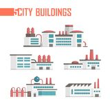 Five city industrial buildings set of icons - vector illustration Royalty Free Stock Photos