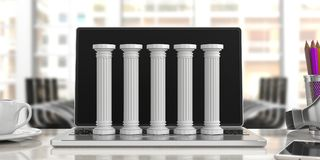 Five classical pillars on a computer, office background. 3d illustration. Five classical pillars on a computer, blur office background. 3d illustration Royalty Free Stock Image