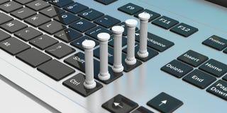 Five classical pillars on a computer keyboard. 3d illustration. Five white classical pillars on a silver computer keyboard. 3d illustration Stock Photo
