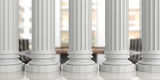 Five classical pillars on an office desk, blur background. 3d illustration. Five classical pillars on an office desk, blurred background. 3d illustration Royalty Free Stock Image