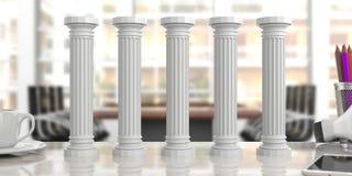 Five classical pillars on an office desk, blur background. 3d illustration. Five classical pillars on an office desk, blurred background. 3d illustration Stock Images