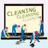 Five cleaners with big notebook dark screen Royalty Free Stock Photo