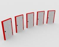 Five closed doors Stock Photos