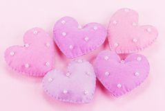 Five cloth hearts Stock Photography