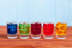 Five cocktails or liqueur on the wooden background Stock Photography