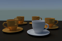 Five  coffee cups Royalty Free Stock Image