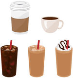 Hot and Iced Coffee Drinks. Five different coffee drinks: hot coffee in a styrofoam cup and ceramic cup, an unflavored and flavored iced coffee, and a frappe Stock Photography