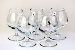 Five cognac glass royalty free stock photography
