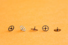 Free Five Cogs Gears On Yellow Background. Clock Watch Details Close-up, Shallow Depth Field. Selective Focus. Stock Image - 89535611