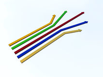 Five color arrows. At the differend direction Stock Photography