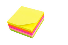 Five color block of post-it notes. Isolated on white background Stock Images