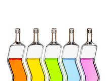Five color bottles Stock Photography
