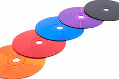 Five color compact disks (DVD) Royalty Free Stock Images