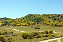 five Color mountain autumn scenery Royalty Free Stock Images