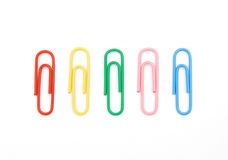 Five color paperclips. The image of five color paperclips isolated on white Stock Photography
