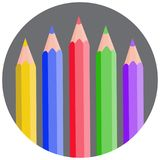 Five color pencils rounded gray circle vector icon, drawing, creativity concept stock illustration